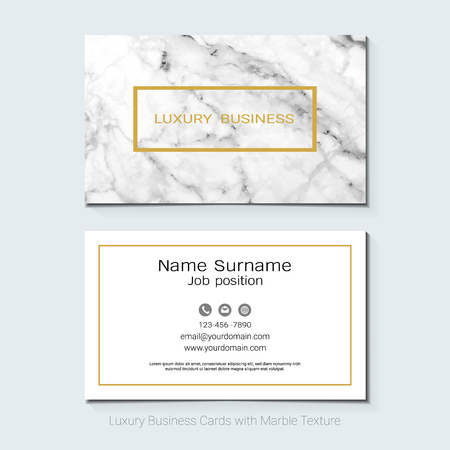 Luxury business cards vector template, Banner and cover with marble texture and golden foil details on white background, Simple style also modern and elegant, Easy to customize it to fit your needs. Illustration