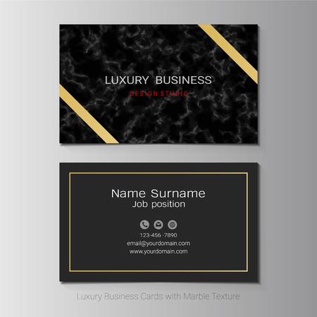 Luxe visitekaartjes vector sjabloon, eenvoudige stijl ook modern en elegant met marmering textuur imitatie achtergrond, het is volledig gelaagd en bewerkbaar, eenvoudig aan te passen aan uw behoeften. Vector Illustratie