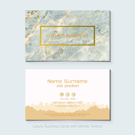Luxury business cards vector template, Simple style also modern and elegant with marbling texture imitation background, It's fully layered and editable, Easy to customize it to fit your needs. Ilustrace