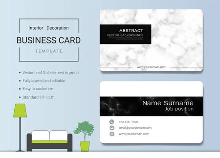 Business Card Or Name Card Template For Interior Designer. Modern And  Elegant Style With Marbling