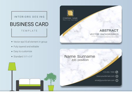 Business card or name card template for interior designer. Modern and elegant style with marbling texture imitation background. It's fully layered and editable, easy to customize it to fit your needs. Stock Vector - 96103075