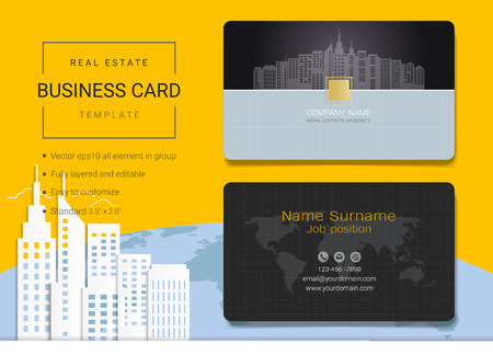Real estate business card or name card template. Simple style also modern and elegant with building landscape background. It's fully layered and editable, easy to customize it to fit your needs. Illusztráció