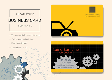 Automotive business card or name card template. Simple style also modern and elegant with tools service and repair background. It's fully layered and editable, easy to customize it to fit your needs.