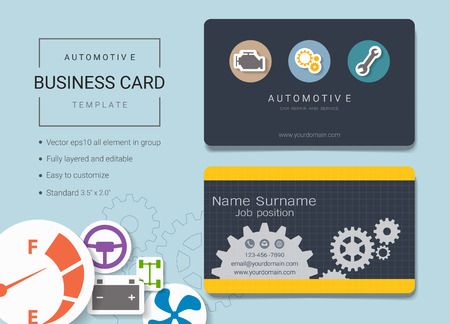Automotive business card or name card template simple style automotive business card or name card template simple style also modern and elegant with tools friedricerecipe Choice Image