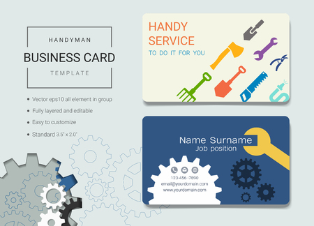 Handyman business card or name card template. Simple style also modern and elegant with handy tools kit background. Its fully layered and editable, easy to customize it to fit your needs.