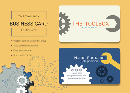 Toolbox business card or name card template, Simple style also modern and elegant with handy tools kit background, It's fully layered and editable, Easy to customize it to fit your needs.