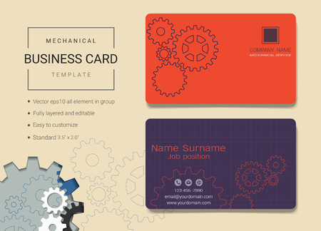 Mechanical business card or name card template, Simple style also modern and elegant with head gears machine background, Its fully layered and editable, Easy to customize it to fit your needs.