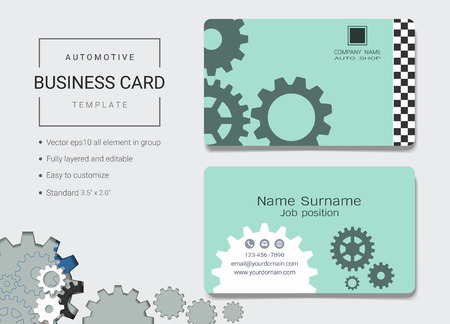 Automotive business card or name card template, Simple style also modern and elegant with abstract gears machine background, Its fully layered and editable, Easy to customize it to fit your needs.