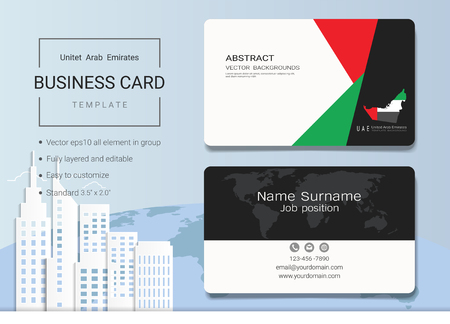 UAE abstract business card or name card template. Emirates banner for Independence day and other events, vector illustration. It's fully layered and editable, easy to customize it to fit your needs.