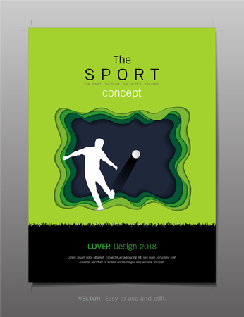 Covers book design template vector, Sport football club concept, Can be adapt to annual report, brochure, flyer, leaflet, fact sheet, sale kit, catalog, magazine, booklet, portfolio, poster.