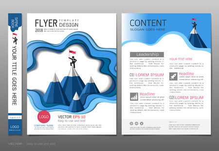 Covers design template, Business leadership and success concept with mountain alps, Can be adapt to annual report, brochure, flyer, leaflet, fact sheet, sale kit, catalog, magazine, booklet, portfolio, poster. Vectores