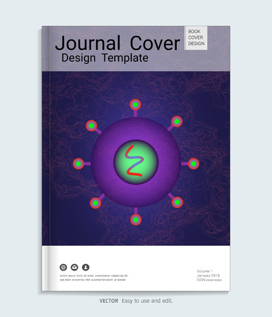 Medical, scientific, academic journal cover design with Realistic virus vector on blue luminescence background. Vector illustration.