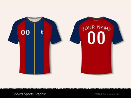 サッカークラブやすべてのスポーツウェア、フロントとバックショット、カスタマイズロゴと名前の準備ができて、簡単にあなたのチームの色やレタリングスタイルを変更するためのTシャツスポーツデザインテンプレート。