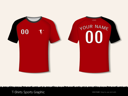 T-shirt sport design template for football club or all sportswear. Front and back shots available. Ready for customization icon and name. Easily to change colors and lettering styles in your team.