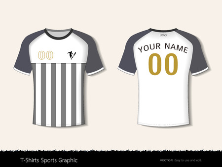T-shirt sport design template for football club or all sportswear. Front and back shots available. Ready for customization icon and name. Easily to change colors and lettering styles in your team. Stockfoto - 96047736