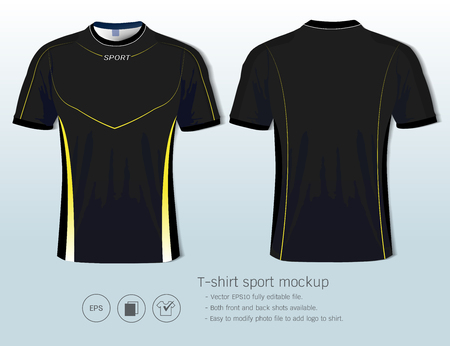 T-shirt sport design template for football club or all sportswear, Front and back shots available, Ready for customization logo and name, Easily to change colors and lettering styles in your team. Illustration