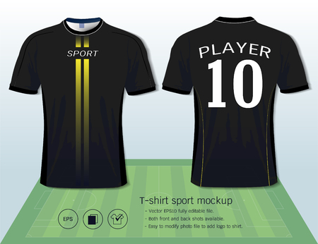 T-shirt sport design template for football club or all sportswear, Front and back shots available, Ready for customization logo and name, Easily to change colors and lettering styles in your team.  イラスト・ベクター素材