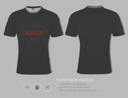 T-shirt sport design template for football club or all sportswear. Front and back shots available, ready for customization icon and name. Easily to change colors and lettering styles in your team.