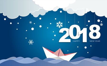 Paper art of Merry Christmas day and Happy new year 2018 on winter season with snow flake background, Easy to use by print a special offer or add your own logo, images, and text, whatever you want. Illustration