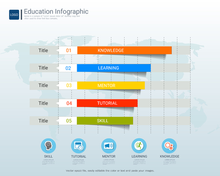 Education infographic elements template for graduation concept, This process helps your build visual, Presentation and communication skills, Graphs or charts help people understand data quickly. Ilustrace