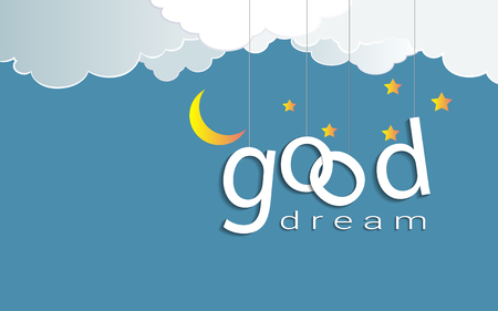 Good dream text design under the moon light and stars, Goodnight and sweet dream origami mobile concept, Vector illustration Paper art style. Vectores