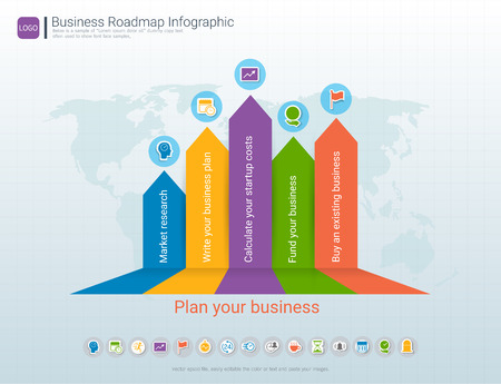 Roadmap timeline infographic design template, Key success and presentation of project ambitions, Can be used roadmap management for any business plan to achieving your project goals is clear to you. Stock Illustratie