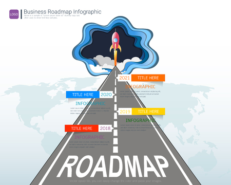 Roadmap timeline infographic design template, Key success and presentation of project ambitions, Can be used roadmap management for any business plan to achieving your project goals is clear to you. Vectores