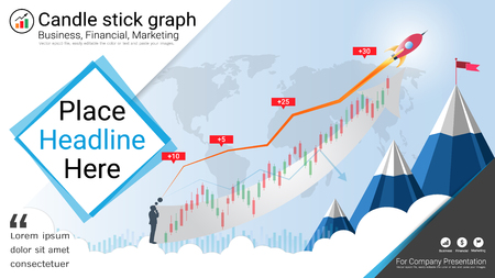 Candlestick and financial graph charts, Infographic presentations template colored illustration. Иллюстрация