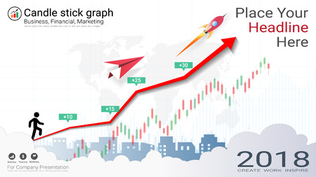 Candlestick and financial graph charts, Infographic presentations template colored illustration. Vectores