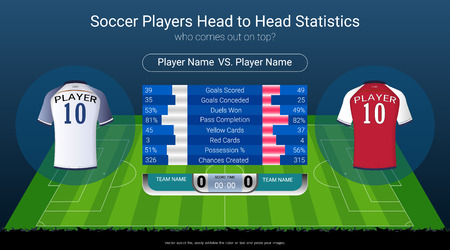 Football or soccer players statistics board on soccer playing field background design Illustration