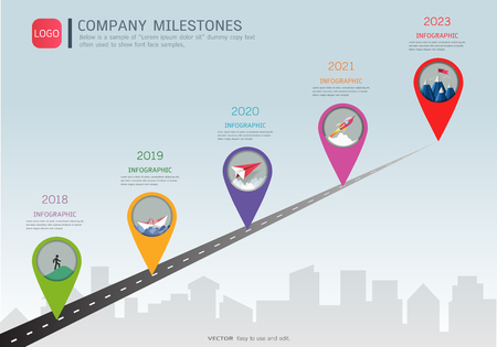 Milestone timeline infographic design Vector illustration.