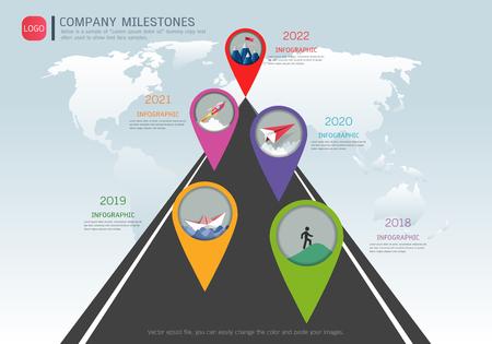Milestone timeline infographic design Vector illustration.