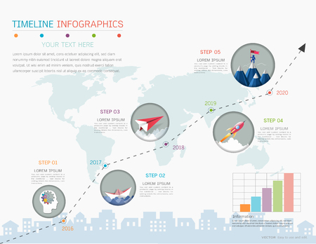Milestone timeline infographic design template Illustration