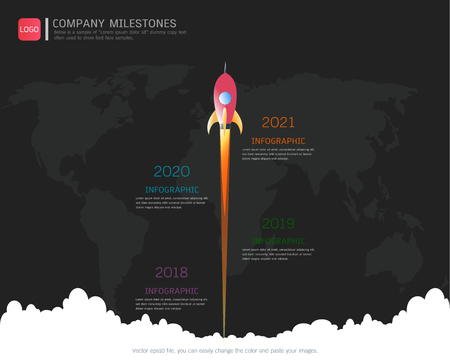 Milestone timeline infographic design template Stock Illustratie