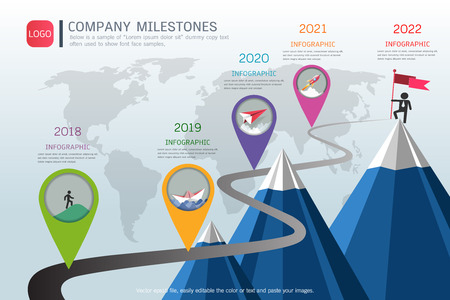 Milestone timeline info-graphic design, Road map or strategic plan to define company values.