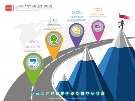Milestone timeline info-graphic design, Road map or strategic plan to define company values.