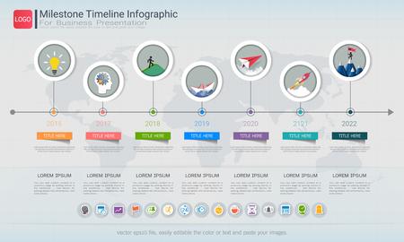 Diseño infográfico de la línea de tiempo Milestone, hoja de ruta o plan estratégico para definir los valores de la empresa.