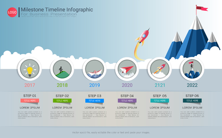 Milestone timeline infographic design. Stock Illustratie