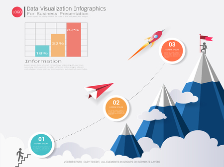 Data Visualization infographic design, Road map or strategic plan to define company values, Can be used milestones for scheduling in project management to mark specific points along a project timeline Illustration