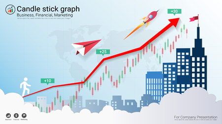 Candlestick and financial graph charts, Infographic presentations template Vector illustration.