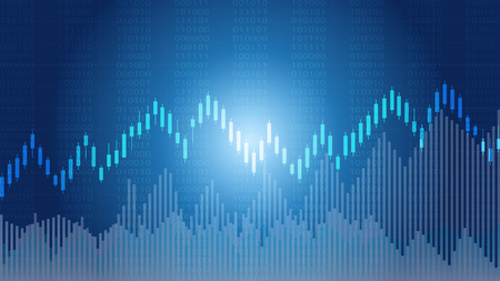 Business candlestick and financial graph chart suitable for Forex stock market investment trading concept, Global network connection and Business analytics on abstract background.