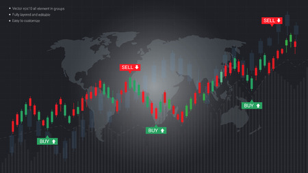Business candlestick and financial graph chart, Suitable for forex stock market investment trading concept, Global network connection and Business analytics on abstract background. Vectores