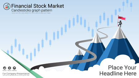 Business candlestick chart is a style of financial chart, Suitable for forex stock market investment trading concept and used to describe price movements of a security, derivative, or currency. Illustration