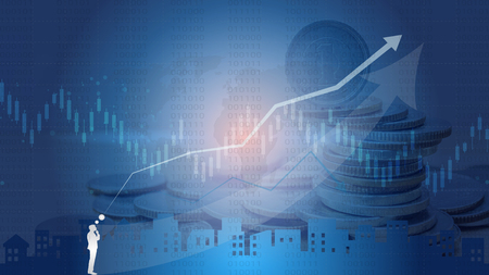 Candlestick strategy indicator with bullish and bearish engulfing pattern is a style of financial chart, Suitable for forex stock market investment trading concept (Blurred photo for an example) Illustration
