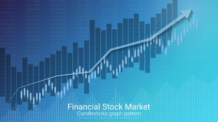Blue financial stock market concept with a candlestick pattern.
