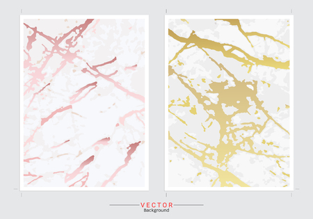Gold marble imitation cover background vector set, Modern and luxury design template.