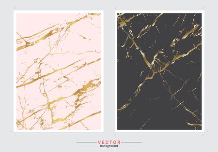 Conjunto de vector de fondo de cubierta de imitación de mármol dorado, plantilla de diseño moderno y de lujo para su diseño una boda, invitación, tarjetas de felicitación, web, banner, patrón y fondo de pantalla impresionantes.