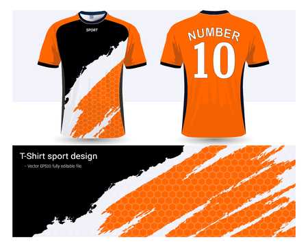Soccer jersey and t-shirt sports design template, front and back for football club or active wear uniforms in colors orange, black and white illustration.