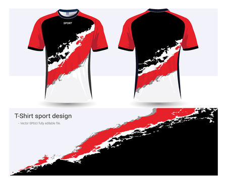 Soccer jersey and t-shirt sports design template, front and back for football club or active wear uniforms in colored illustration.