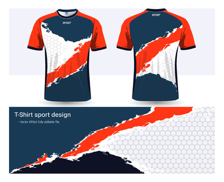 Soccer jersey and t-shirt sports design template, front and back for football club or activewear uniforms, Ready for customize logo and name, Easily to change colors and lettering styles in your team. Stock Illustratie